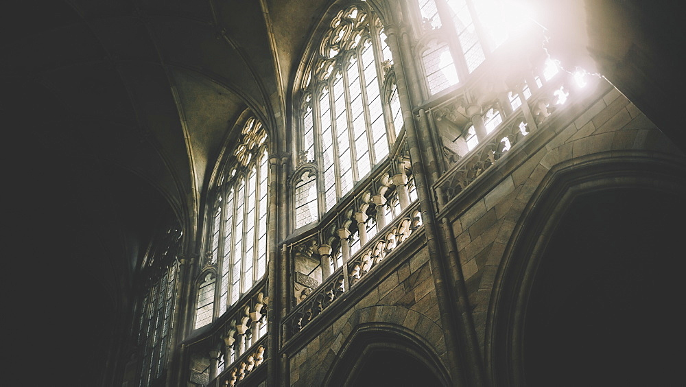 Daylight Through The Windows Of St. Vitus Cathedral At Prague Castle, Prague, Czech Republic