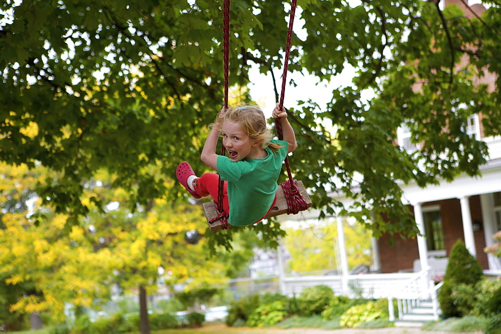 Young Girl On A Swing, Picton, Ontario, Canada