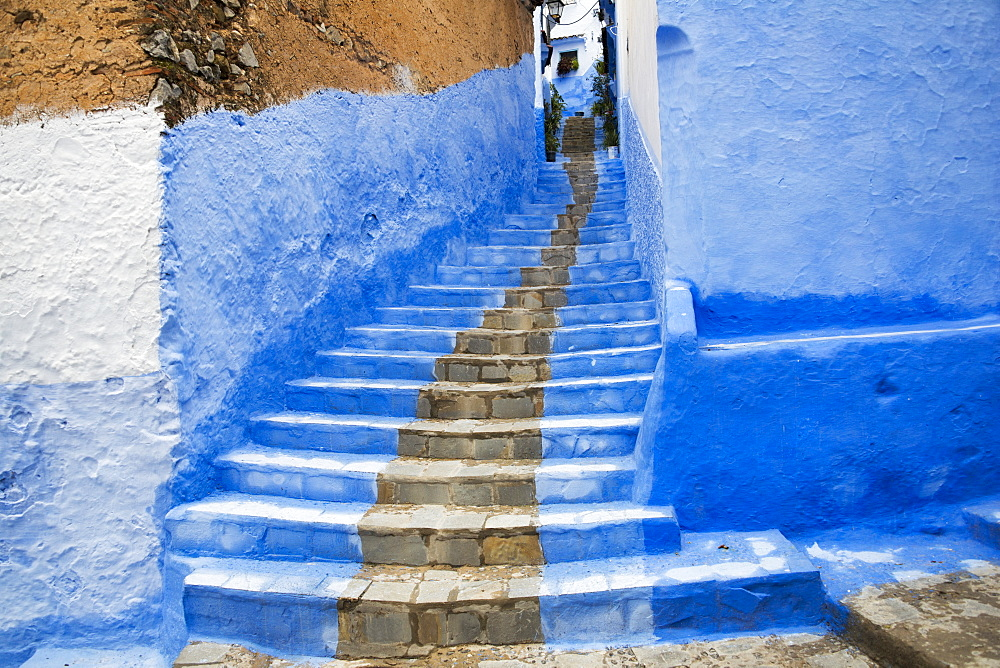 Looking Up A Stairway In The Medina, Chefchaouen, Morocco
