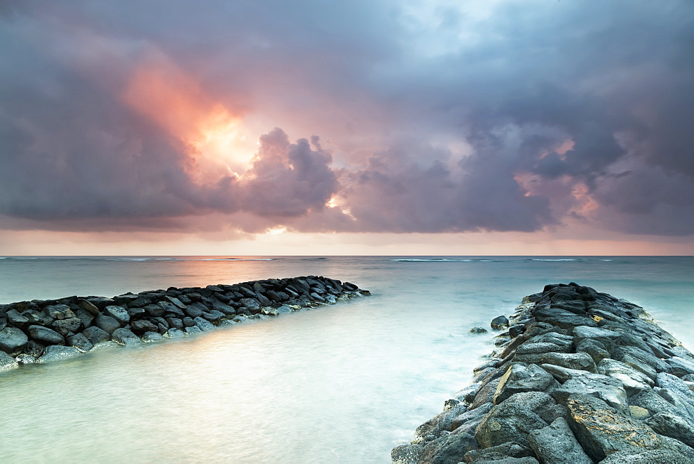 Sunrise In Kapaa Looking Out Over Breakwater, Kapaa, Kauai, Hawaii, United States Of America