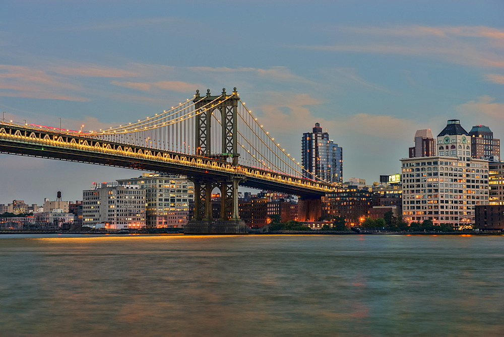 Manhattan Bridge At Sunset, New York City, New York City, United States Of America