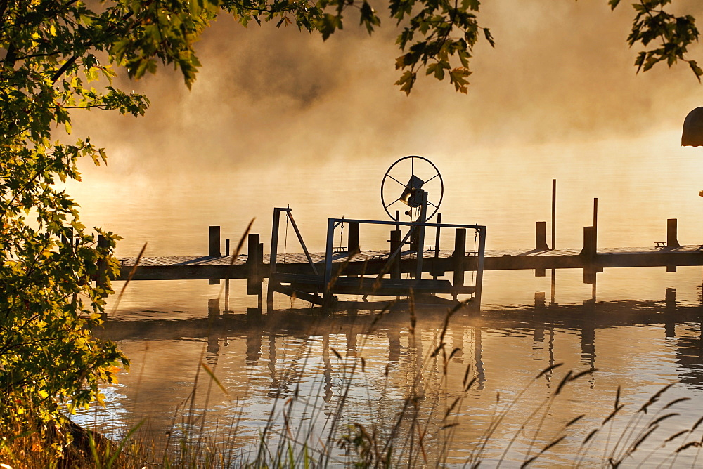 Mist Over The Water At Sunrise, Foster, Quebec, Canada