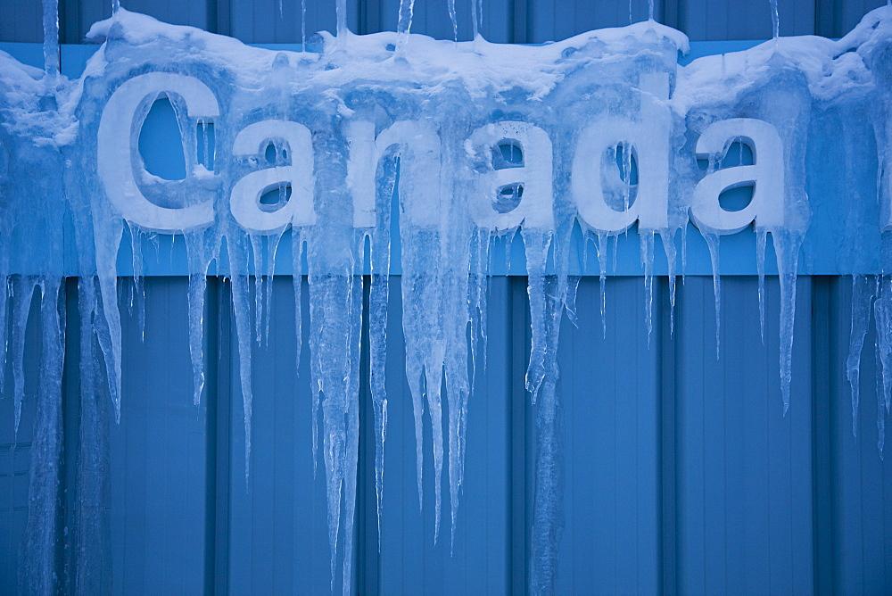 Canada Sign In Ice, Edmonton, Alberta, Canada