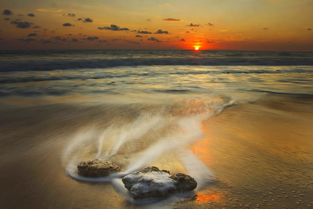 Waves Over Rocks On The Beach At Sunset, Mazatlan, Mexico
