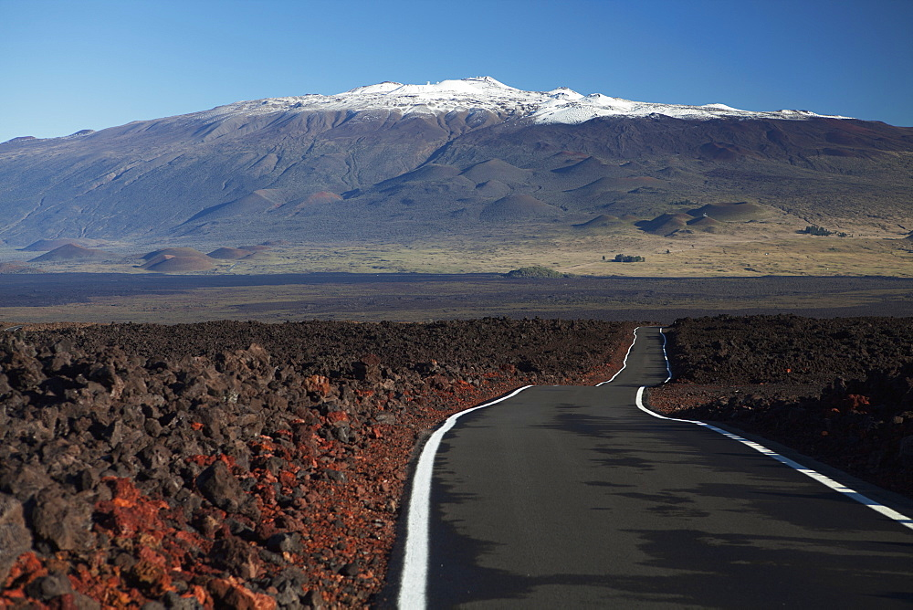 Lava Fields Of Mauna Loa, Mauna Loa Strip Road (Stainback Road), Snowcapped Mauna Kea, Island Of Hawaii, Hawaii, United States Of America