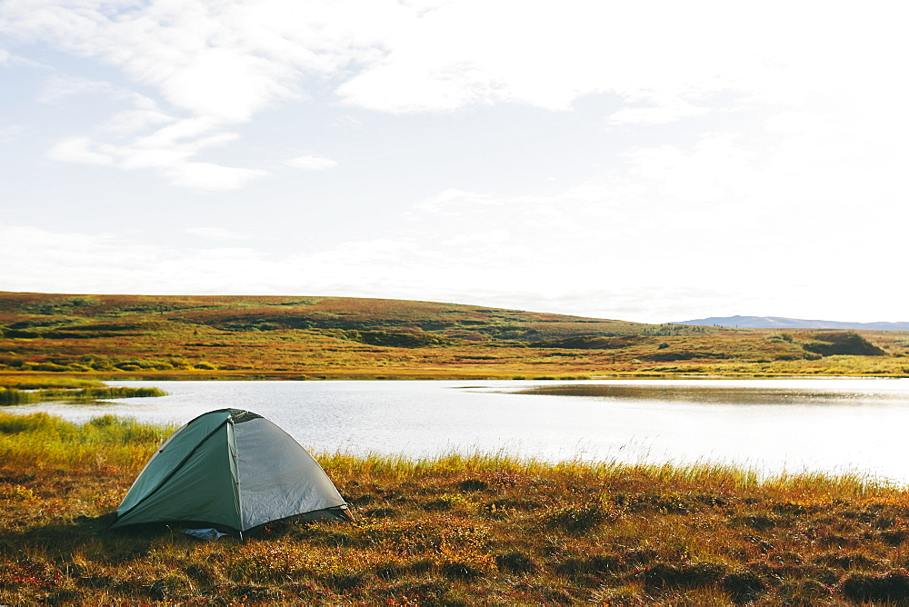 Lakeside Tent At Sunrise, Denali National Park, Alaska, United States Of America