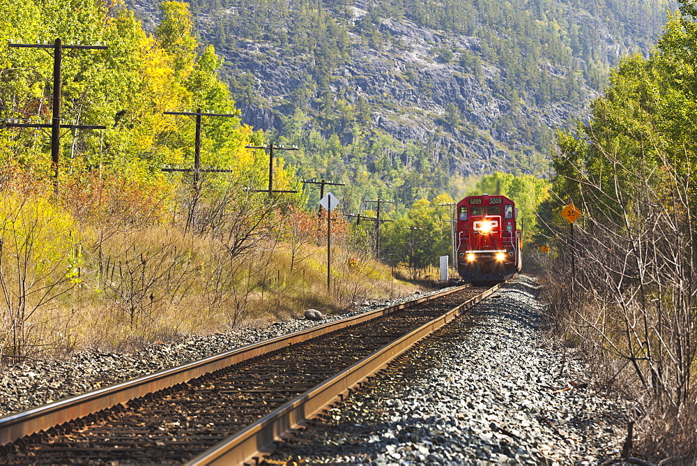 Train On The Tracks In Autumn, Wawa, Ontario, Canada