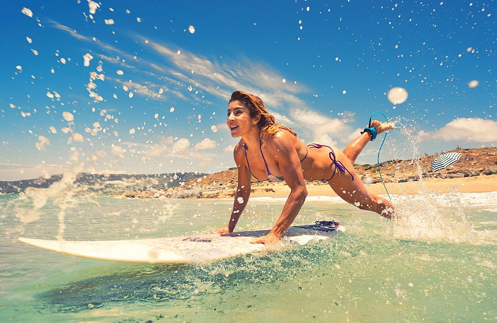 Woman Having Fun At The Beach, Bolonia, Tarifa, Costa De La Luz, Andalusia, Spain