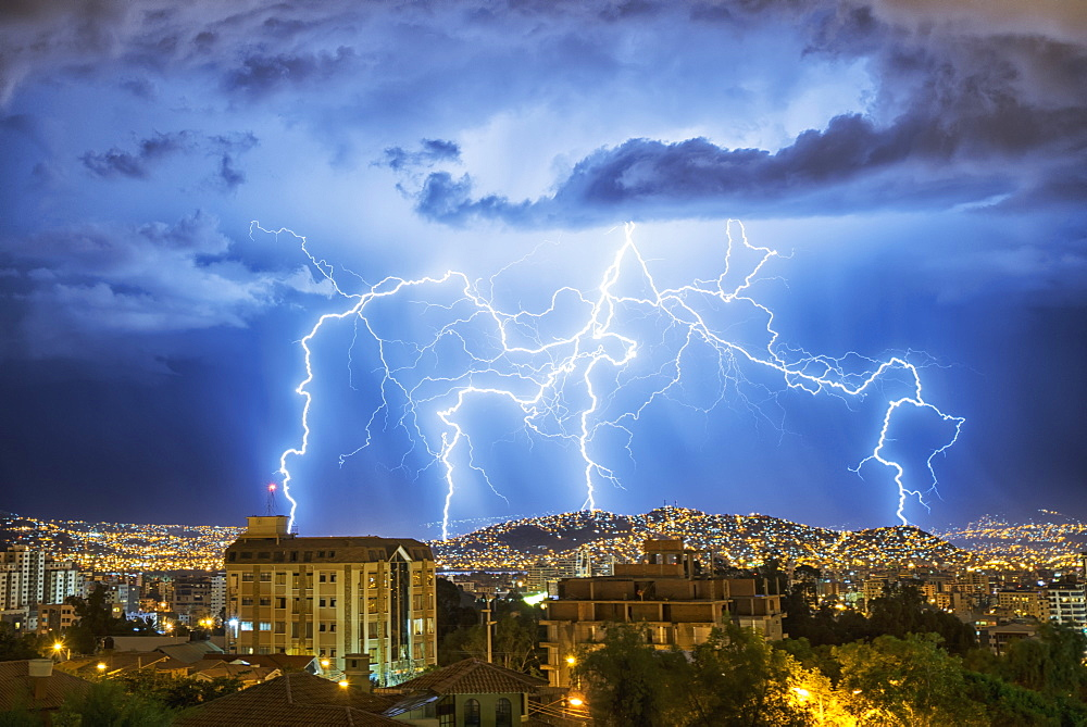 Lightning Lights Up The Night Skies Above The City Of Cochabamba, Cochabamba, Bolivia