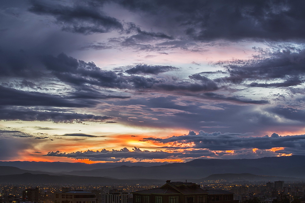 The Sunset Colours The Skies Above The City Of Cochabamba, Cochabamba, Bolivia
