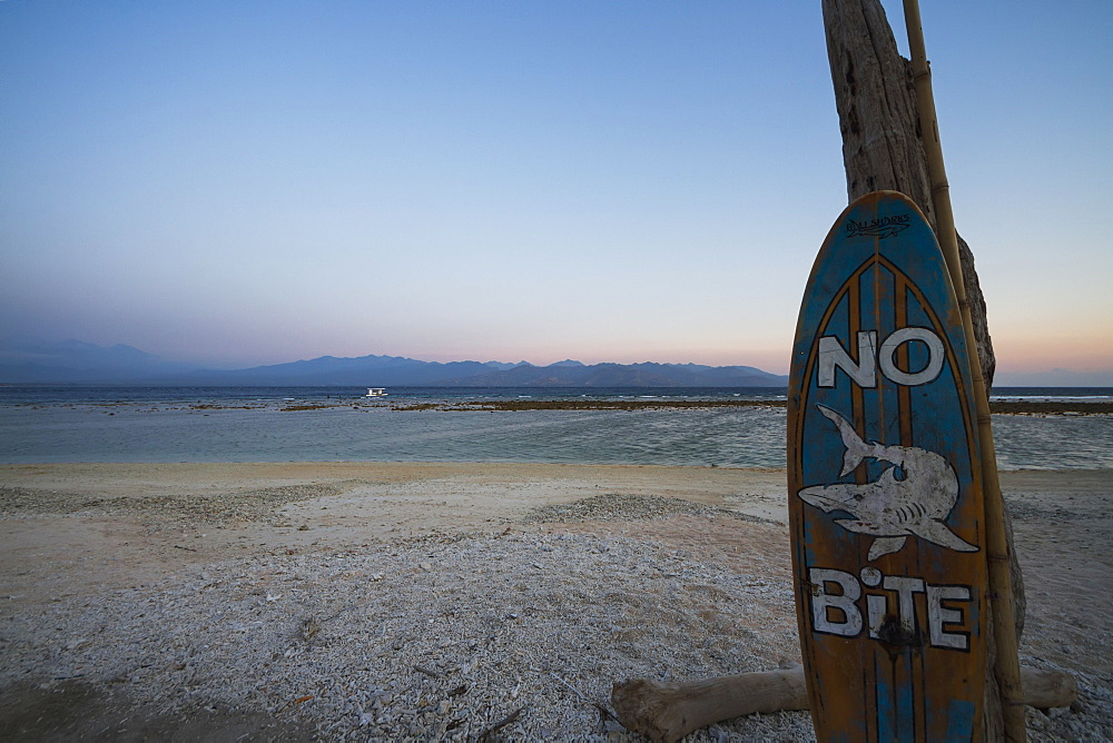 No Bite Sign On The Beach At Dusk, Gili Trawangan, West Nusa Tenggara, Indonesia