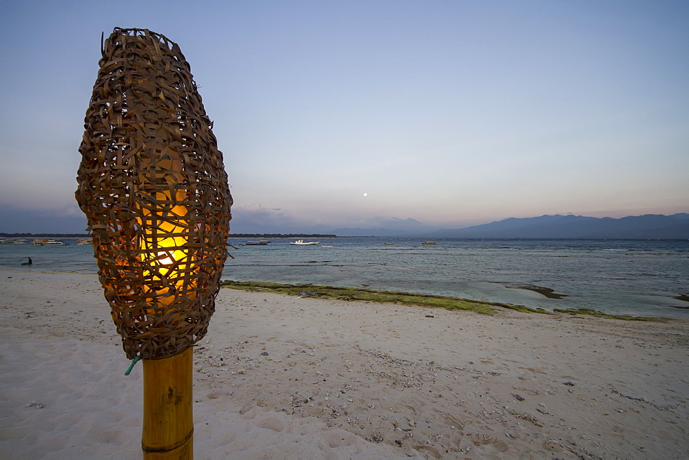 Lamp On The Beach At Dusk, Gili Trawangan, West Nusa Tenggara, Indonesia