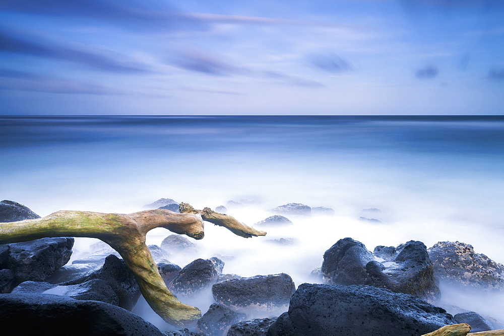 Long Exposure Of The Surf Along Wailua Beach, Wailua, Kauai, Hawaii, United States Of America
