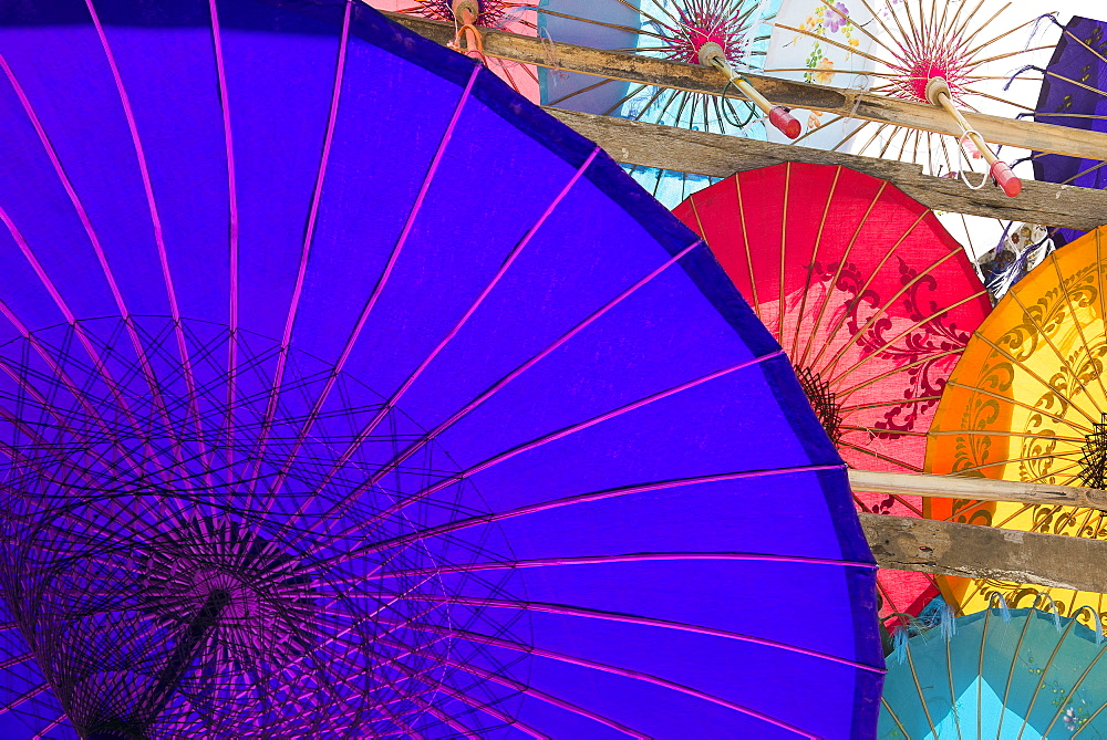 Colourful Paper Umbrellas On Display, Yangon, Myanmar