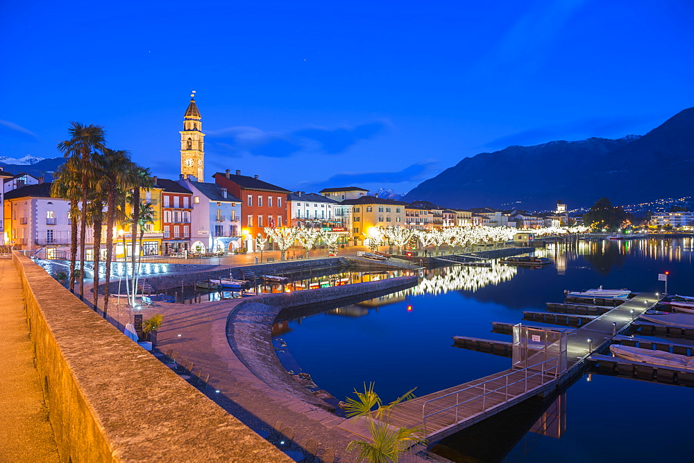 Waterfront Of Lake Maggiore At Dusk, Ascona, Ticino, Switzerland