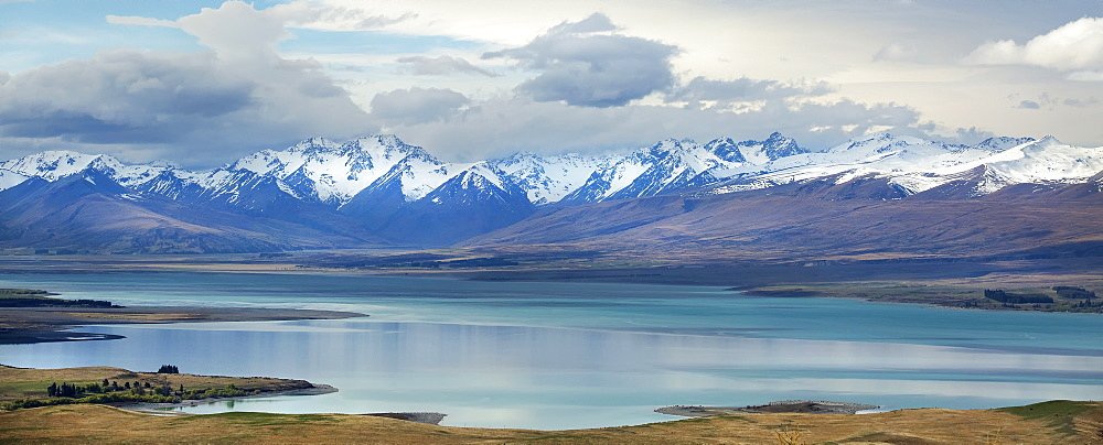 Lake Tekapo, With Snow Covered Mountains, Tekapo, New Zealand