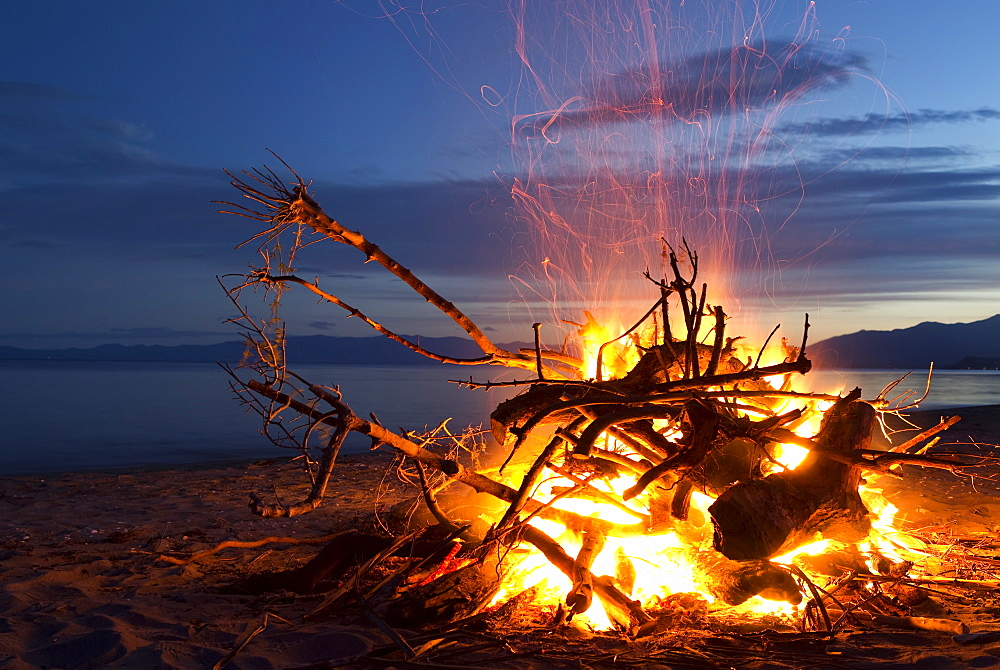 Bonfire On The Beach At Golden Bay, New Years Eve, South Island, New Zealand