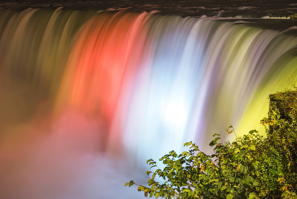 Rays Of Light And Magic Colours Of Illuminated Water Of Niagara Falls At Night, Niagara Falls, Ontario, Canada