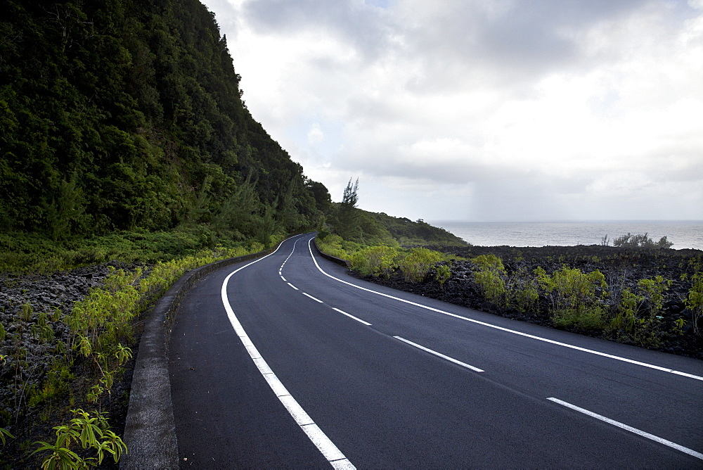 Seafront Road Under A Dramatic Sky, Reunion Island, France