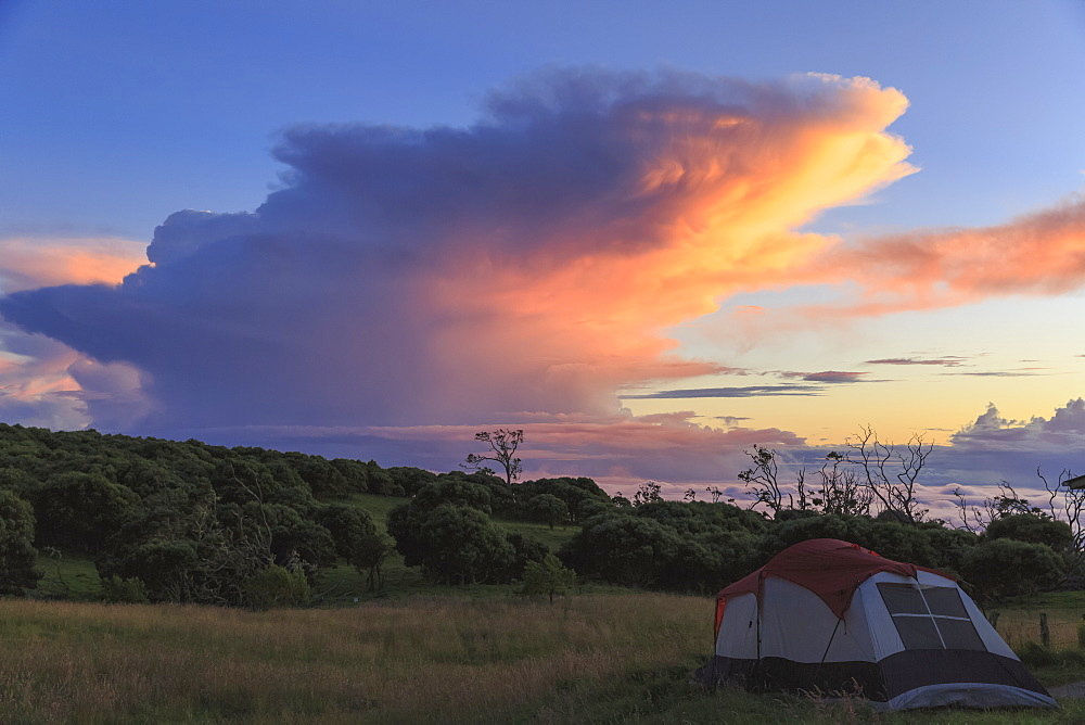 Camp Site At Keanakolu State Park With Cumulonimbus Sunrise Clouds, Island Of Hawaii, Hawaii, United States Of America