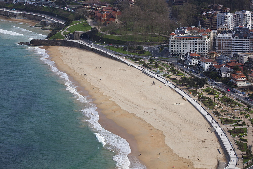Ondarreta Beach At The Western End Of La Concha Bay, San Sebastian, Spain