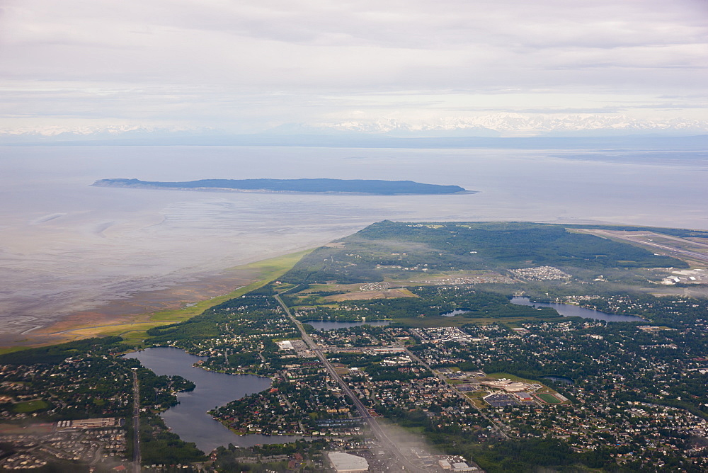 Aerial View Of The Sand Lake Neighborhood Of Anchorage, Fire Island, Kincaid Park, And The Anchorage International Airport Visible In The Background, Southcentral Alaska, USA, Summer