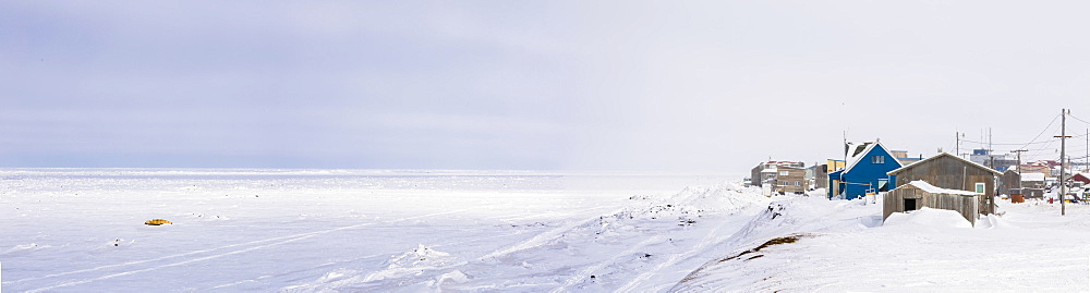 Panorama Of Barrow And The Coast On An Overcast Winter Day, North Slope, Arctic Alaska