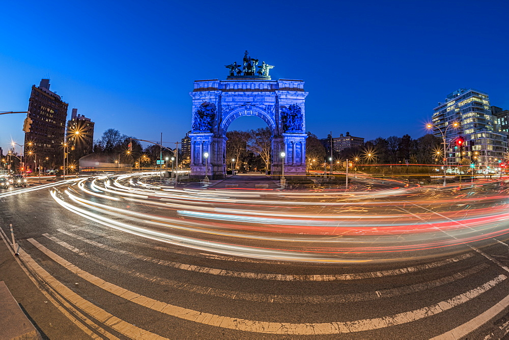 Grand Army Plaza At Twilight, Brooklyn, New York, United States Of America