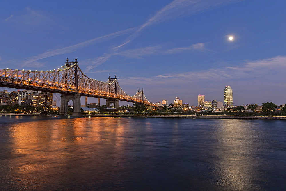 Moonrise Over Queensboro (59th Street) Bridge And The Citibank Building, Queens, New York, United States Of America