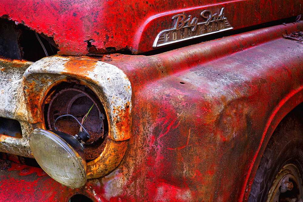 Detail Of Fire Truck That Belonged To Kodiak Volunteer Fire Department, Kodiak, Alaska, United States Of America
