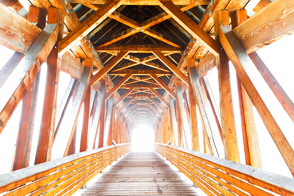 Wooden Bridge With Sunlight Glowing At The End, Golden, British Columbia, Canada