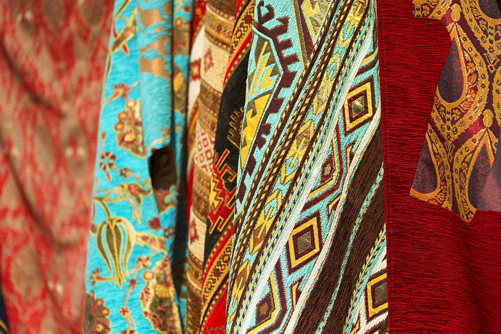 Textiles In Open Air Market In The Greek Town Of Sinasos (Mustafapasa), Near Cappadocia, Turkey