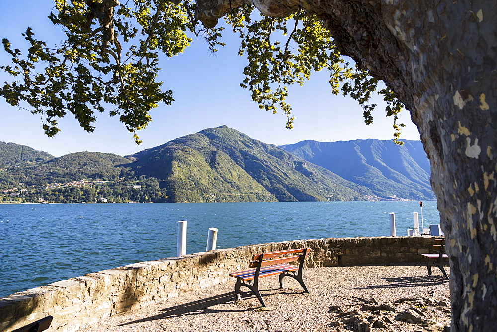 The End Of The Waterfront Where You Can Sit And Enjoy This Mountain Viewpoint Of Lake Como, Cadenabbia, Lombardy, Italy
