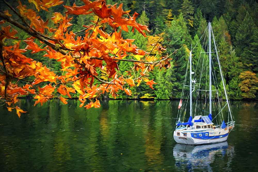 A Blue And White Sailboat Rests At Anchor In Autumn Near Gowlland Tod Provincial Park, On The Backside Of Butchart Gardens, Near Victoria, Vancouver Island, British Columbia, Canada