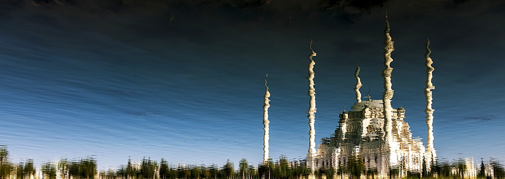 Sabanci Mosque Reflected In The Seyhan River, Adana, Turkey