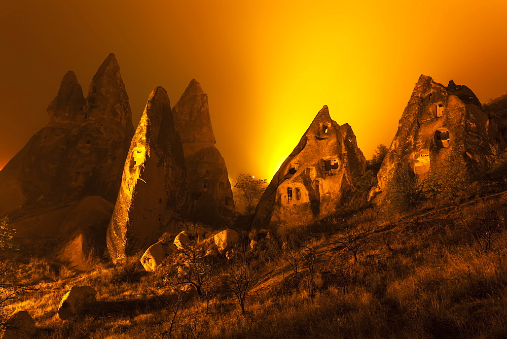 Cave Homes In Rock Formations And Fairy Chimneys, Goreme, Cappadocia, Turkey