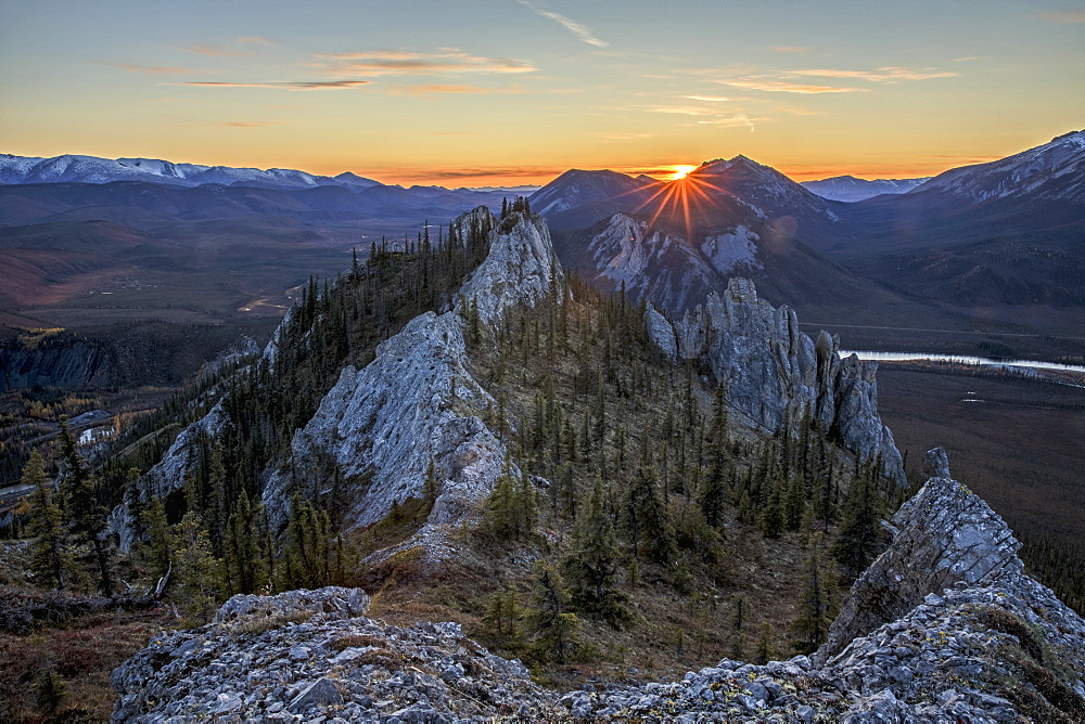 Sunset As Seen From The Top Of Sapper Hill Along The Dempster Highway, Northern Yukon, Yukon, Canada