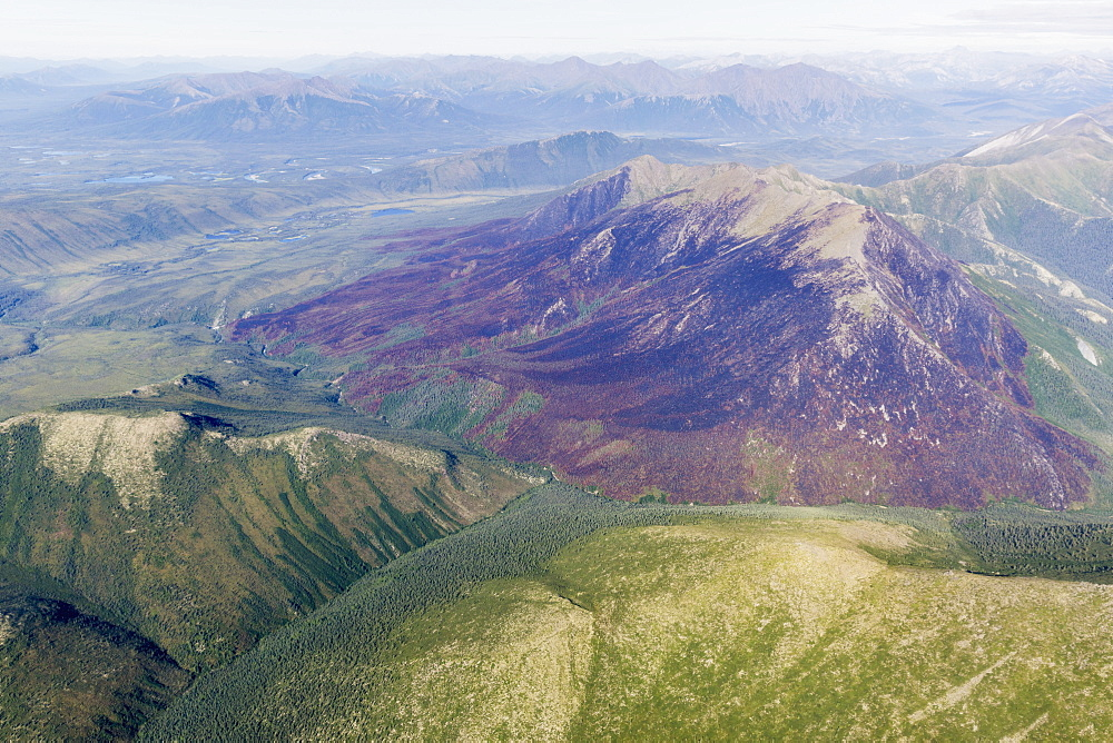 Aerial View Of Mountain Ridges And Green Valleys In The Brooks Range, Alaska, United States Of America
