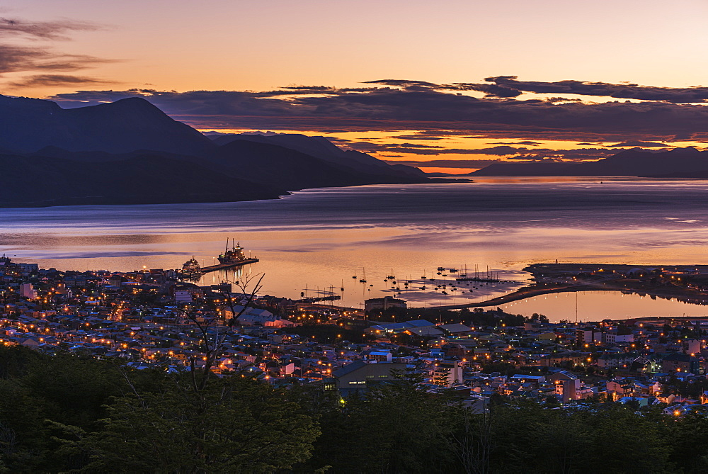 Orange And Purple Pre-Dawn Light Over Ushuaia, Ushuaia, Antarctica