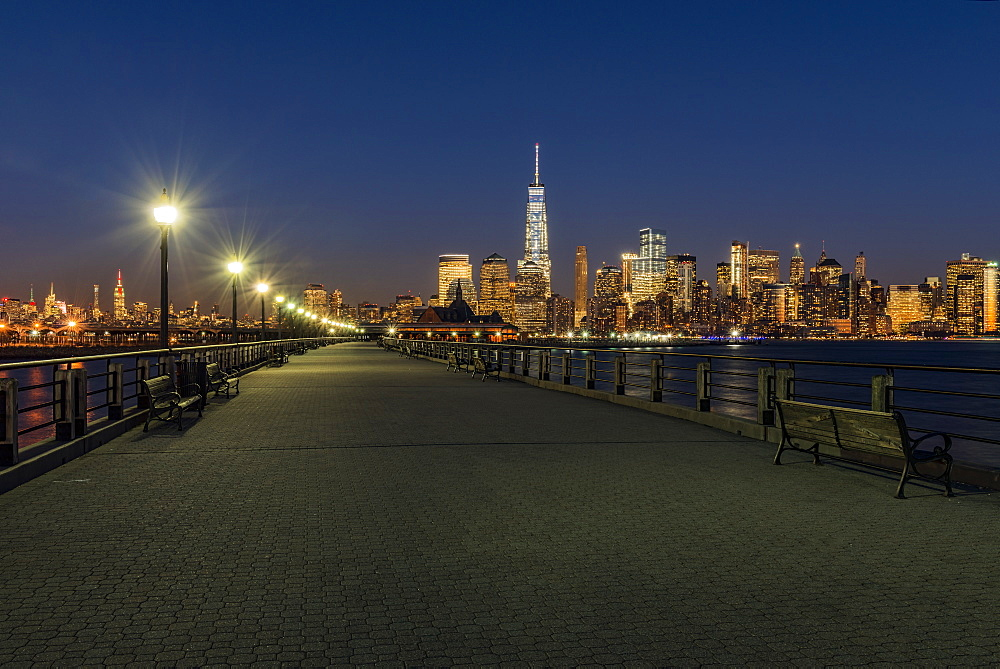 Manhattan Skyline At Twilight, Liberty State Park, Jersey City, New Jersey, United States Of America