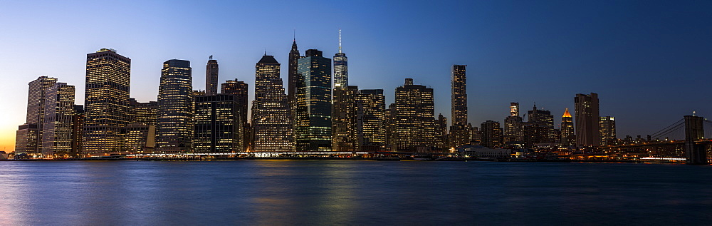 Lower Manhattan Skyline At Sunset, New York City, New York, United States Of America