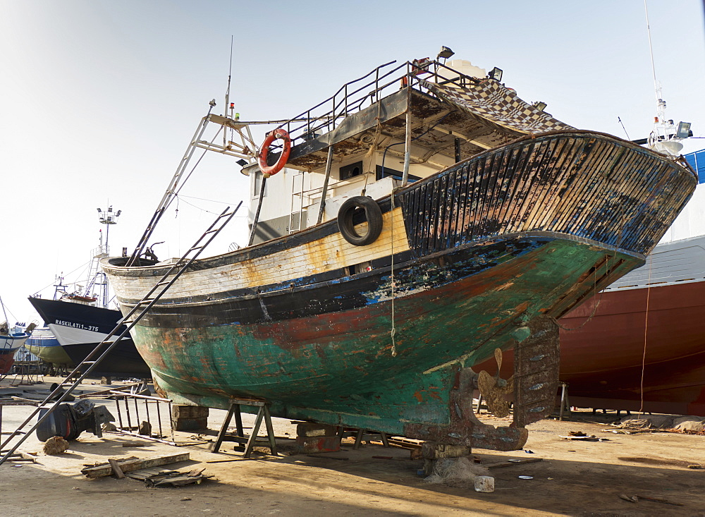 Boat Repair In The Port, Tangier, Morocco