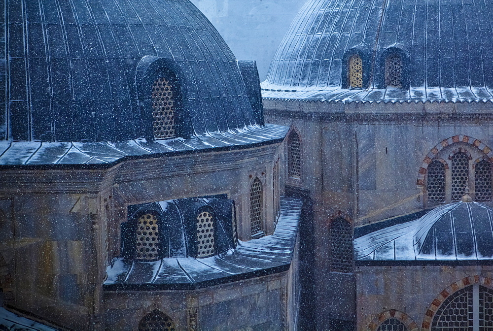 Hagia Sophia (Ayasofya) Under Snow. The Mosque, Now A Museum Is Considered The Epitome Of Byzantine Architecture, Istanbul, Turkey