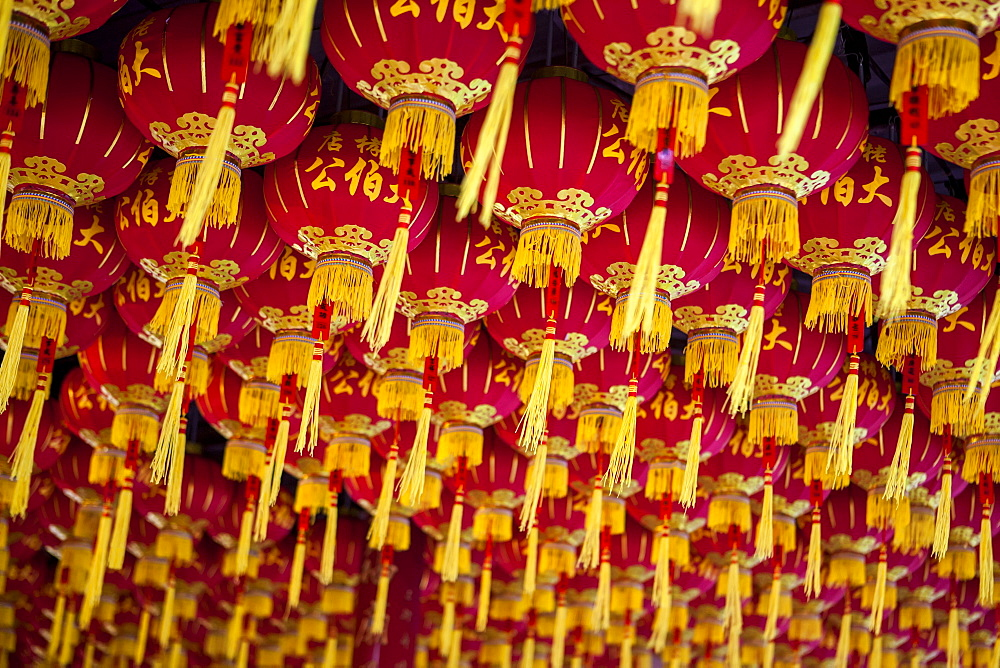 Lanterns At The Kek Lok Si Temple, Chinese New Year's In Malaysia Is Celebrated With Paper Lanterns Hung On Ceilings And Walls Throughout Chinese Neighborhoods And Businesses In Malaysia, Georgetown, Penang, Malaysia
