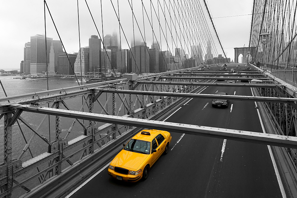Yellow Cab On Brooklyn Bridge, Brooklyn, New York, United States Of America