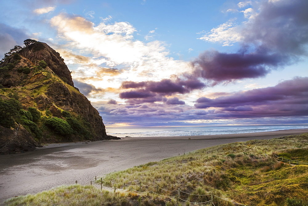 A Sunset At The Surf Beach Of Piha, Just Outside Of Auckland, New Zealand