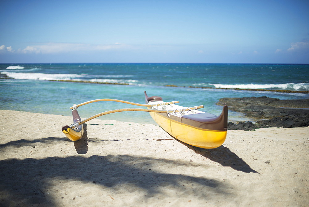 Outrigger Canoe On The Beach, Island Of Hawaii, Hawaii, United States Of America