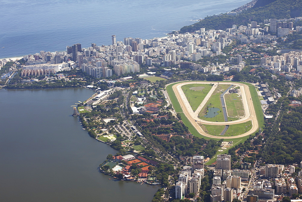 View Of Jockey Club, Leblon And Rodrigo De Freitas Lake From Christ The Redeemer Statue, Corcovado Mountain, Tijaca National Park, Rio De Janeiro, Brazil