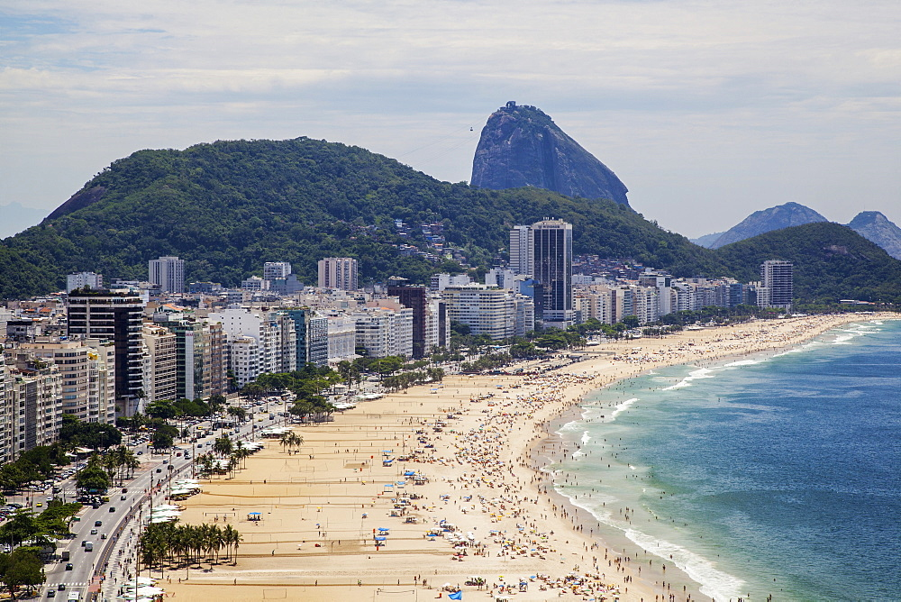 Copacabana From Above Looking Towards Sugarloaf Mountain, Rio De Janeiro, Brazil