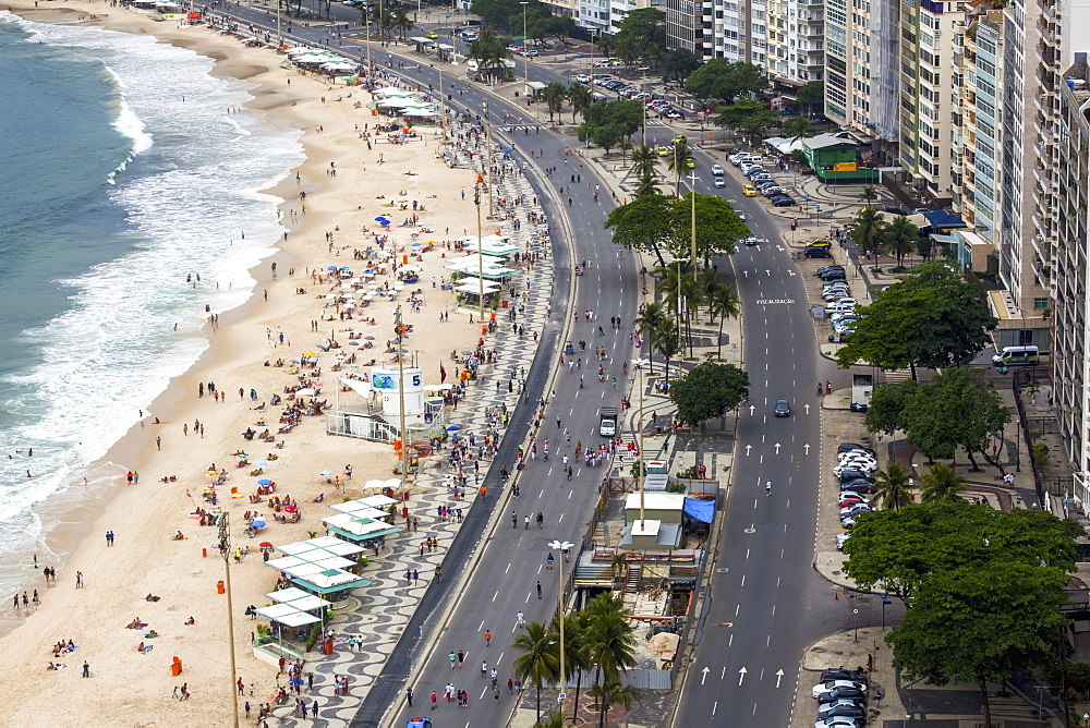 Part Of Copacabana Beach In Rio De Janeiro Viewed From Above, Rio De Janeiro, Brazil